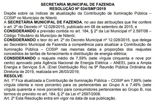 Aumento da Cosip no Diário Oficial de Niterói