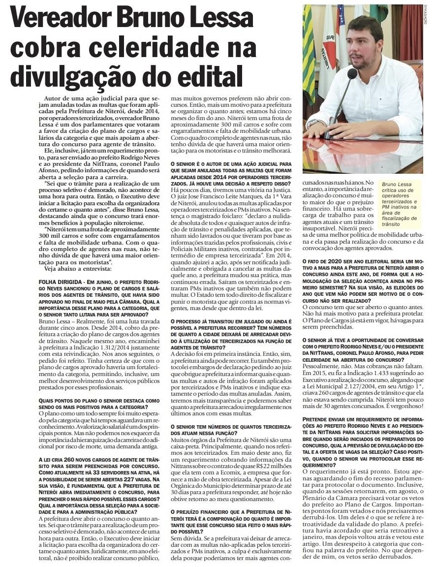 Bruno Lessa fala sobre o concurso para agente de trânsito na Folha Dirigida